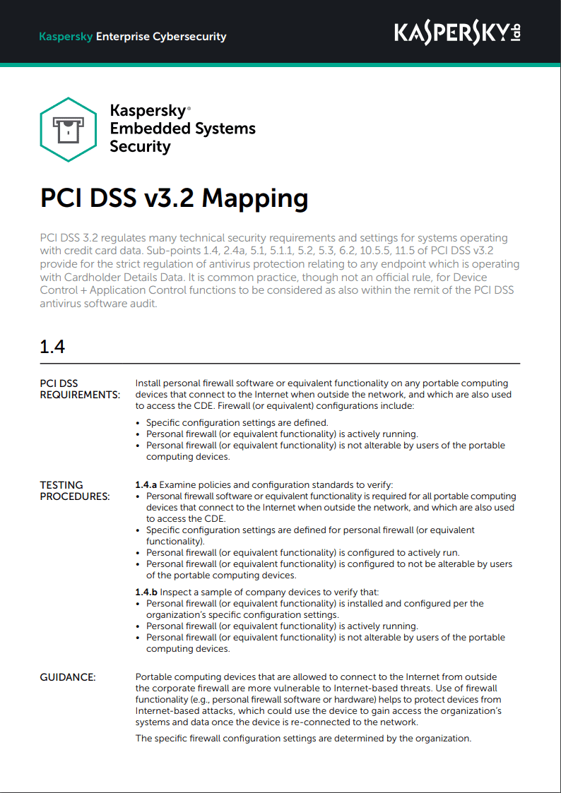 Kaspersky Embedded Systems Security - PCI DSS v3.2マッピング